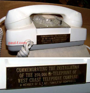 250,000th Telephone - West Coast Tel.