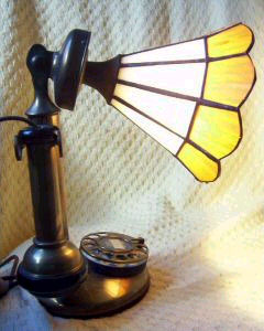 WE candlestick with leaded glass shade